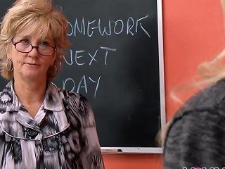 Hot Blonde Teacher Shows Student How To Suck Cock